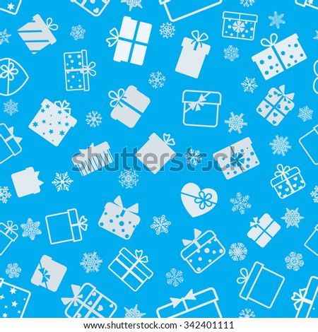 Seamless pattern of gift boxes, white on light blue