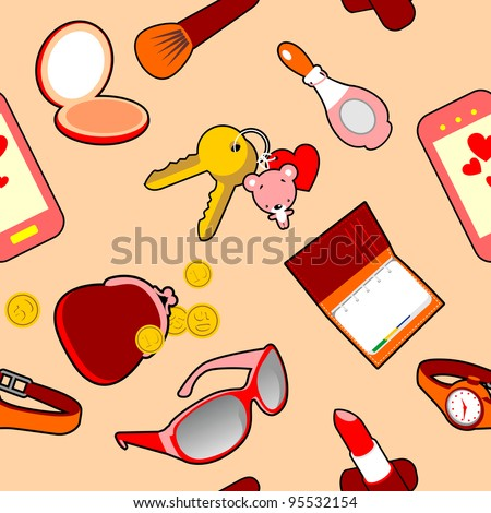 Seamless Pattern of Glamour Female Accessories