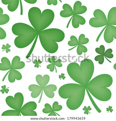 Seamless pattern of green shamrock shapes of varying sizes with white background - stock photo