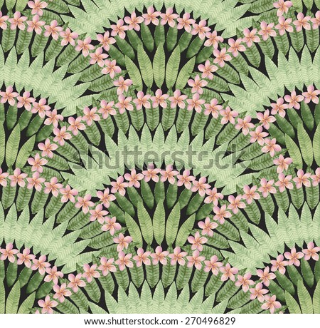 Seamless pattern of hand painted watercolor tropical pink flowers and green leaves on a black background - stock photo