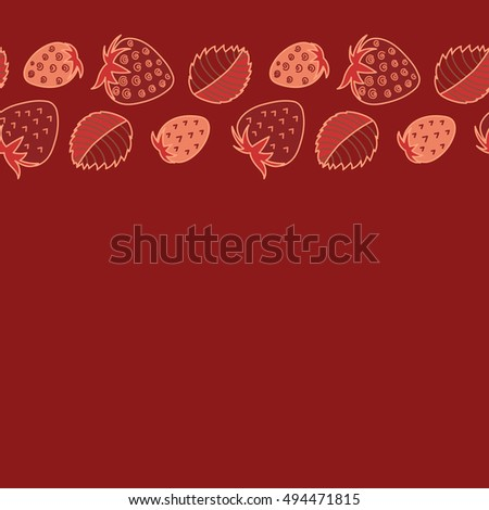 Seamless pattern of horizontal stylized berry motif, hole, spots, strawberry with leaves, doodles on colored background with copy space. Hand drawn. Horizontal seamless strawberry background.