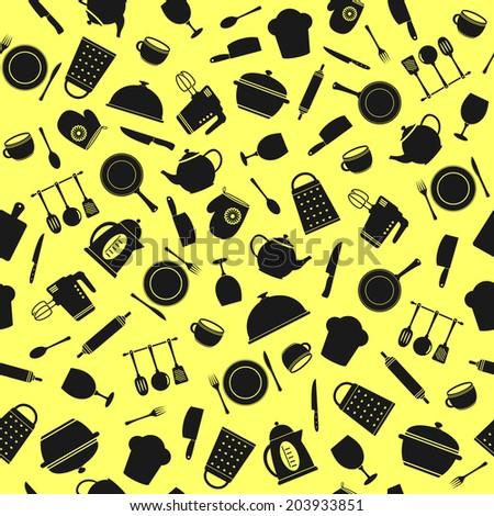seamless pattern of kitchen tools - stock photo