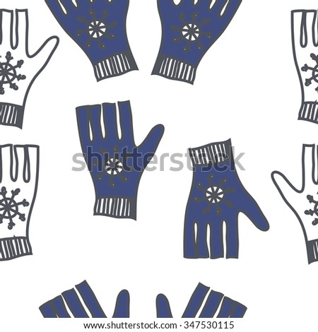 Seamless pattern  of mittens, doodles, snowflakes. Hand drawn.