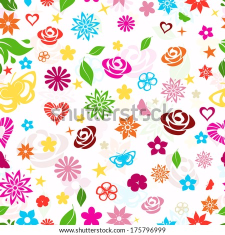 Seamless pattern of multicolored flowers, leafs, stars, butterflies and hearts on white background. Raster version. - stock photo