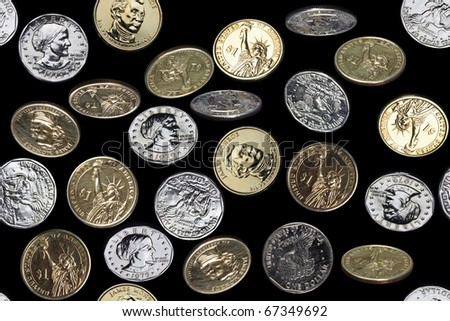 seamless pattern of one dollar coins falling over black background