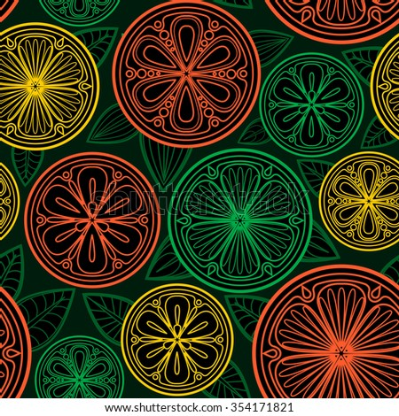 Seamless pattern of oranges, lemons and limes. Citrus slices.  - stock photo