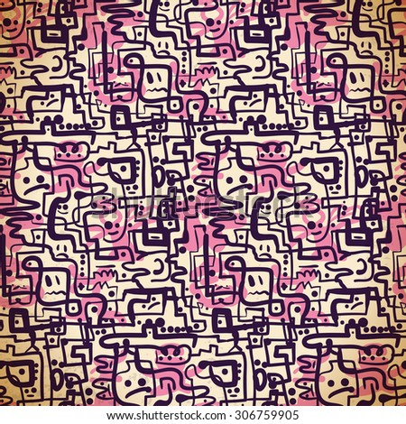 Seamless pattern of pink and purple lines and emotions - stock photo