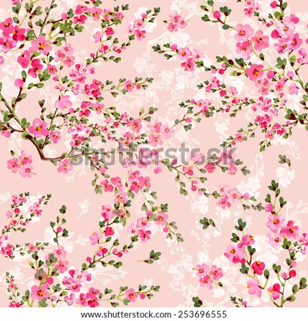 Seamless pattern of pink spring flowers - stock photo