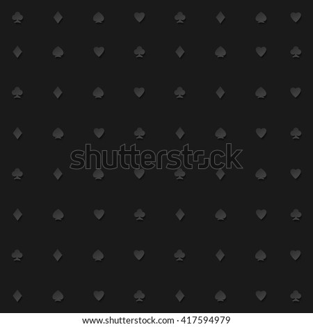 seamless pattern of playing card suits on black backdrop. background design. hearts, spades, diamonds and clubs symbol. casino and poker rooms wallpaper - stock photo