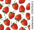 Seamless pattern of realistic image of delicious ripe strawberries - stock vector