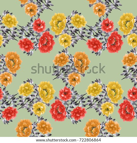 Seamless pattern of red and yellow flowers of the peony on a light green background. Watercolor