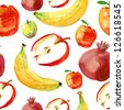 Seamless pattern of red and yellow fruits and berries - stock vector
