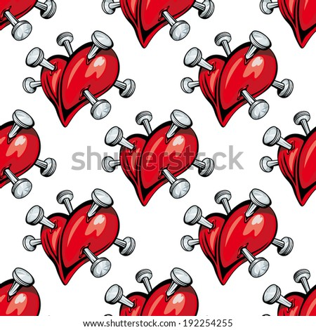 Seamless pattern of red hearts studded with protruding silver nails. Vector version also available in gallery - stock photo