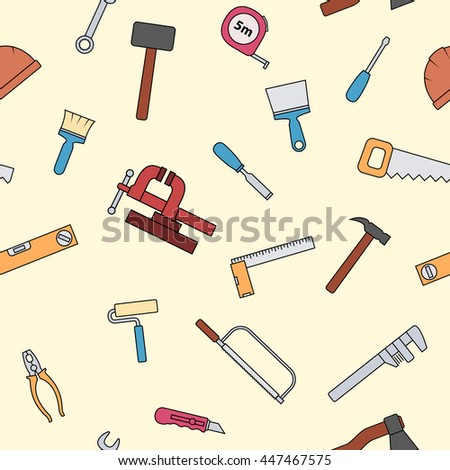 Seamless pattern of repair tool icons. Home repair signs. Worker tools. Isolated on white background. Raster version.