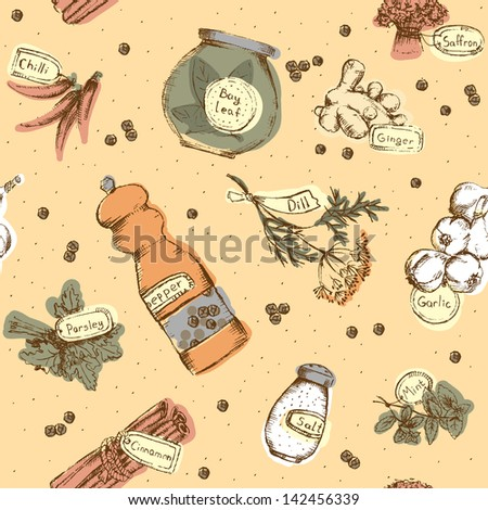 Seamless pattern of spices and herbs. - stock photo