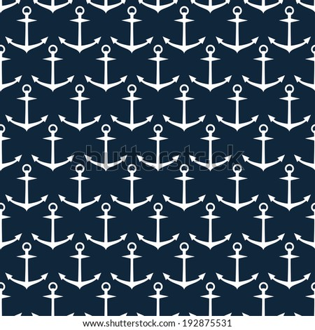 seamless pattern of steering anchor silhouettes on the navy background raster version - stock photo