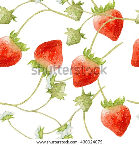 Seamless pattern of strawberries watercolor on white - stock photo