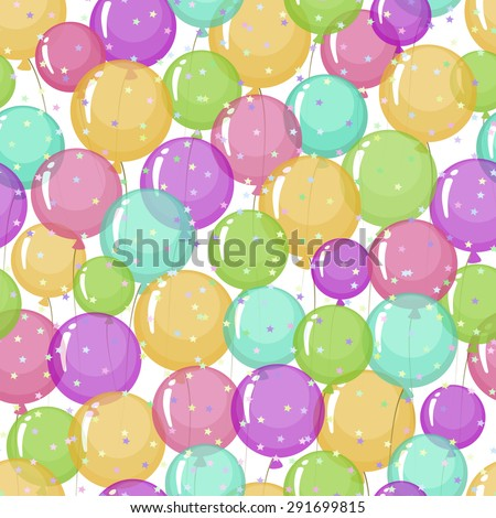 Seamless pattern of stylized, colored, transparent, inflatable balls with stars. - stock photo