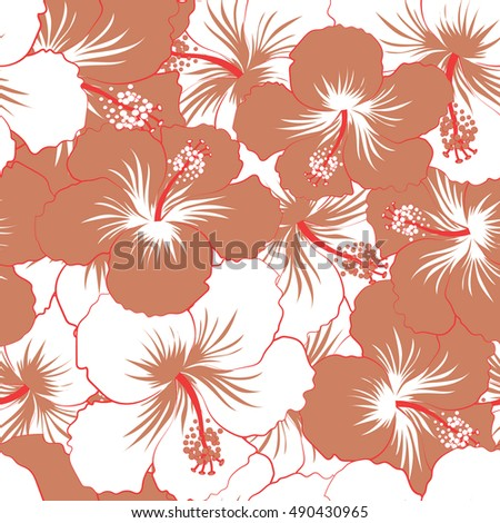 Seamless pattern of stylized floral motif, flowers, hole, spots, doodles. Hibiscus flowers in beige and brown colors. Hand drawn. Seamless floral background.