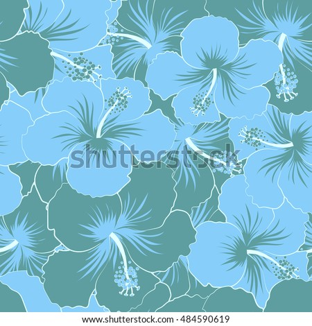 Seamless pattern of stylized floral motif, flowers, hole, spots, doodles. Hibiscus flowers in blue colors. Hand drawn. Seamless floral background.