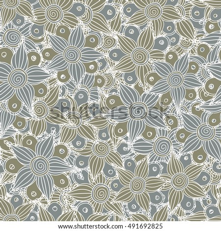 Seamless pattern of stylized floral motif, flowers, hole, spots, doodles in gray colors. Hand drawn. Seamless floral background.