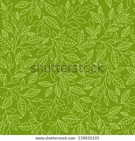 Seamless pattern of stylized leaves on a green background - stock photo