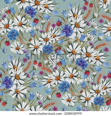 Seamless pattern of summer flowers-C  - stock photo