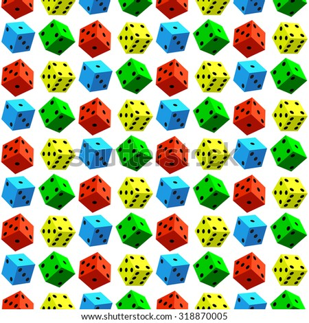 Seamless pattern of the varicoloured dice cubes - stock photo