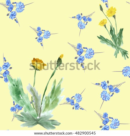 Seamless pattern of two bushes yellow dandelions and wild small blue flowers on a yellow background. Watercolor.