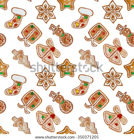 Seamless pattern of watercolor hand drawn ginger cookies isolated on white background