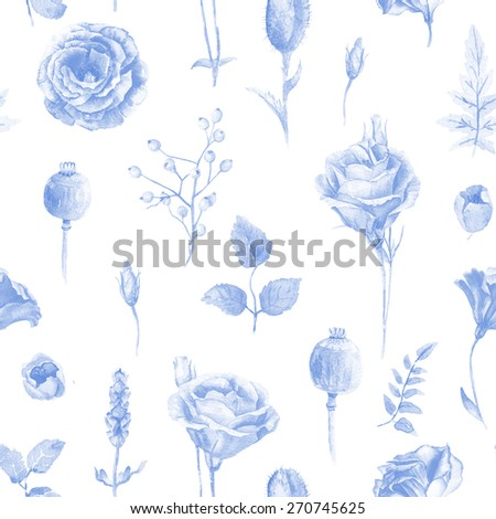Seamless pattern of watercolor roses. Illustration of flowers. Blue monochrome color. Can be used for gift wrapping paper, the background of Valentine's day, birthday, mother's day and so on. - stock photo