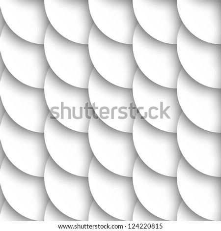 Seamless pattern of white circles with drop shadows. Raster version
