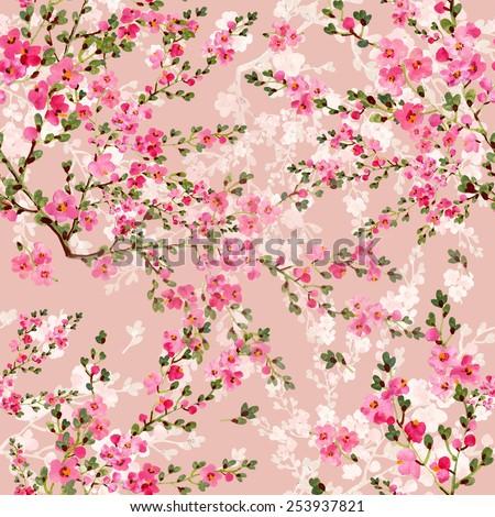 Seamless pattern of wonderful  blooming garden - stock photo