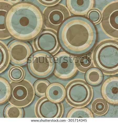 Seamless pattern of wrinkled and worn brown circles