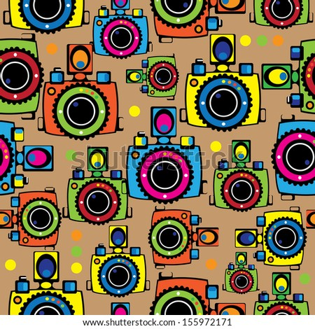 seamless pattern of youth cameras - stock photo