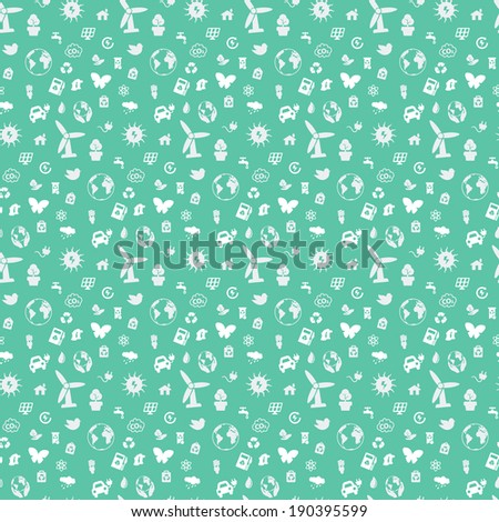 Seamless pattern on environmental issues from a variety of objects on a green background. Pattern ready for premineniyu. Just paste it on the canvas and repeat. - stock photo