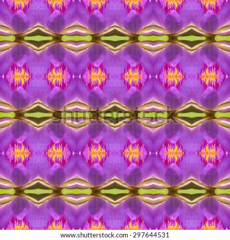 Seamless pattern on purple, pink, green, yellow, orange tone - stock photo