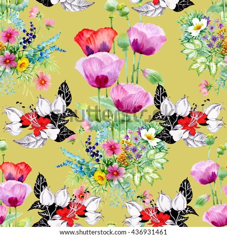 Seamless pattern on yellow background. Colorful illustration with beautiful poppy and other summer flowers and leaves