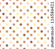 Seamless pattern or texture for background with colorful red, brown, orange and yellow polka dots on white background. Autumn or thanksgiving colors. For web design, www, desktop wallpaper. - stock photo