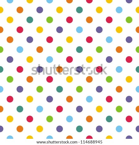Seamless pattern or texture with colorlful polka dots on white background for backgrounds, blogs, www, scrapbooks, party or baby shower invitations and elegant wedding cards. - stock photo