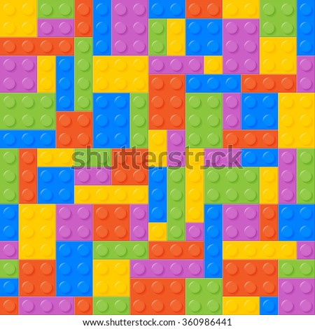 Seamless Pattern. Plastic Constructor Bricks. Balanced, Same Amount Of Each Color. Easy To Recolor. Bricks Of Each Color Are Grouped. Five Colors. Background. - stock photo