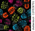Seamless pattern, prints of foots of the child - stock photo