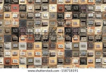 Seamless pattern. Repeating texture with house numbers  - stock photo