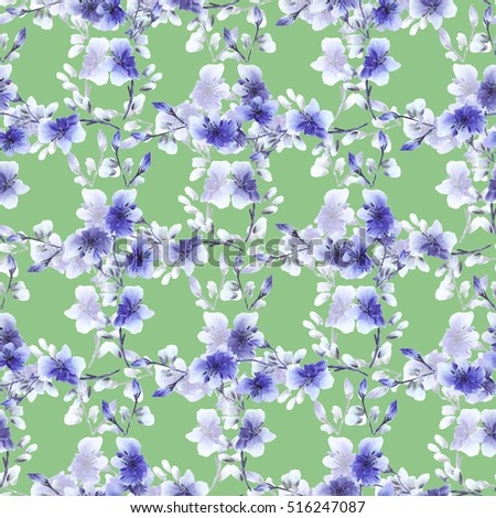 Seamless pattern small blue flowers and branches on a green background. Floral background. Watercolor