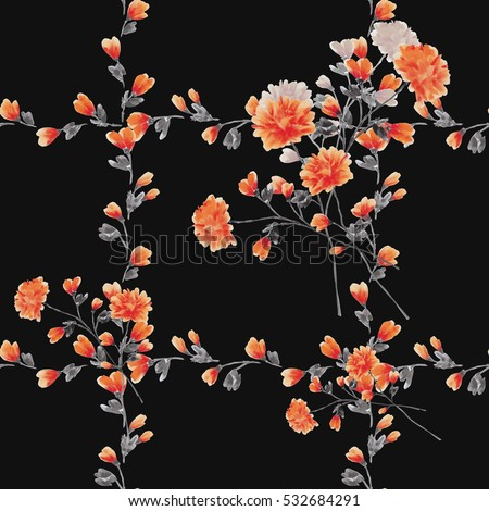 Seamless pattern small red flowers and bouquets and red branches on the black background. Watercolor