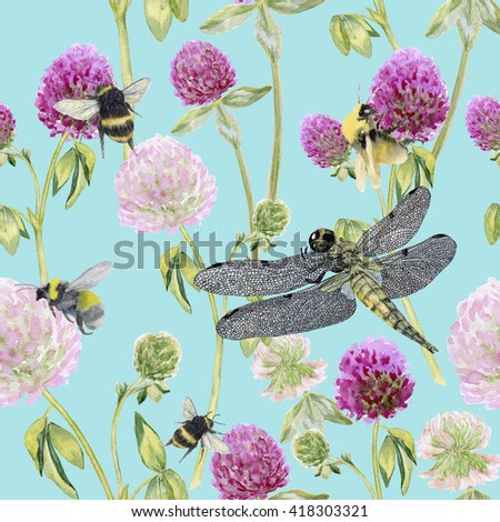 seamless pattern Summer meadow flowers , clover flowers.Seamless pattern of clover. Flowers background, watercolor composition. Decoration with blooming clover. Watercolor hand drawn illustration. - stock photo