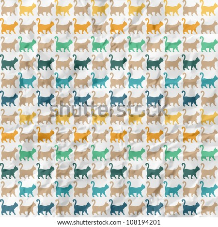 Seamless pattern. Texture with colorful cats with curved tails. Can be used for textile, website background, book cover, packaging.. On crumpled paper background.