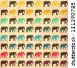 Seamless pattern. Texture with colorful elephants. Can be used for textile, website background, book cover, packaging. - stock photo