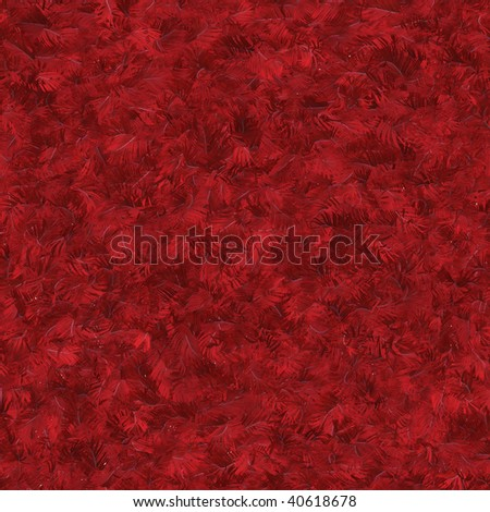 Seamless pattern tile of textured red feathers - stock photo