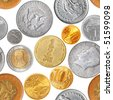 Seamless pattern - Various coins isolated over the white background - stock photo